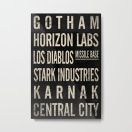 Superhero Themed Vintage Subway Signs (v.1) Metal Print