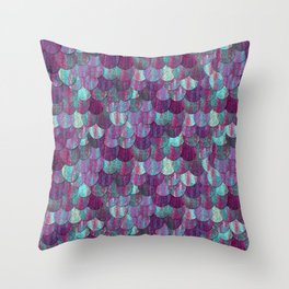 Mermaid Scales in Pinks and Purples Throw Pillow