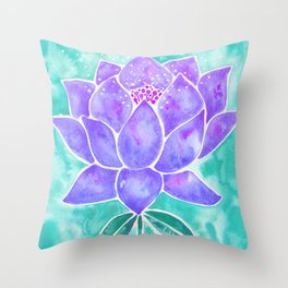 Sacred Lotus – Lavender Blossom on Mint Palette Throw Pillow