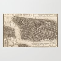 new york map Area & Throw Rugs featuring New York Map by Le petit Archiviste