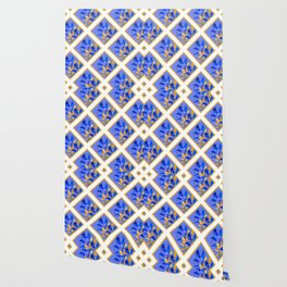 PATTERNED MODERN ABSTRACT BLUE & GOLD CALLA LILIES Wallpaper