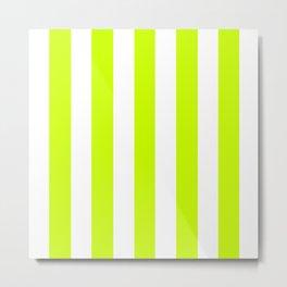 Volt green - solid color - white vertical lines pattern Metal Print