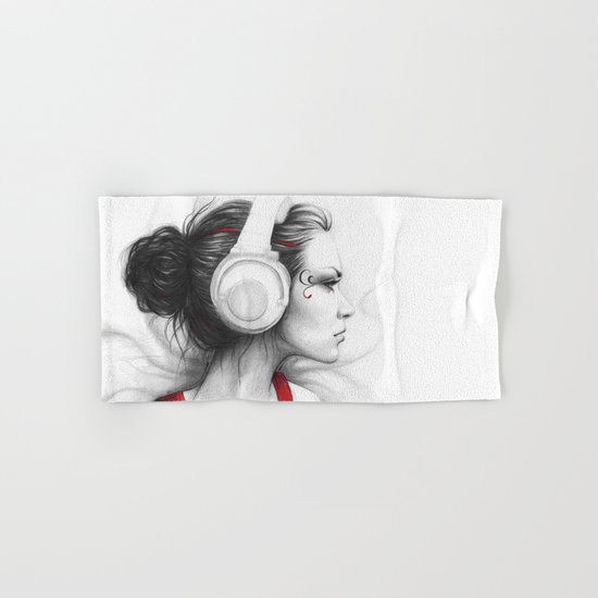 MUSIC Girl in Headphones Hand & Bath Towel