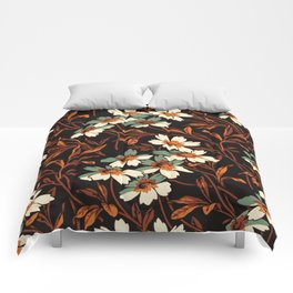 White gothic flowers Comforters