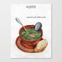La Cuisine Fusion - Mussels with Caldo Verde Canvas Print