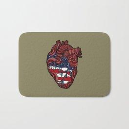 """Flag Heart"" - American Flag, Human Heart - Labor Day - www.davidjdiamant.com Bath Mat"