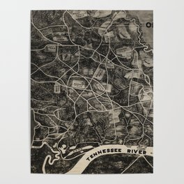 Vintage Map of The Shiloh Battlefield (1917) Poster