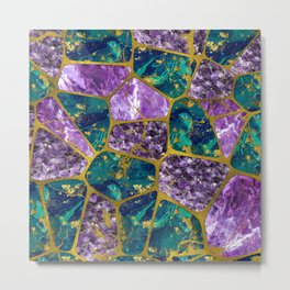 Amethyst and Green Marble Gold Metal Print