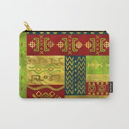 Ethnic African Golden Pattern on color Carry-All Pouch