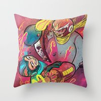 mega man Throw Pillows featuring Mega Man Tribute by Logan  Faerber