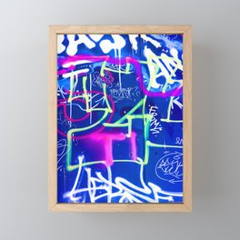 Blue Mood with Pink Language Framed Mini Art Print