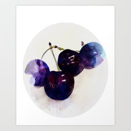I like cherry - blue fruit Art Print