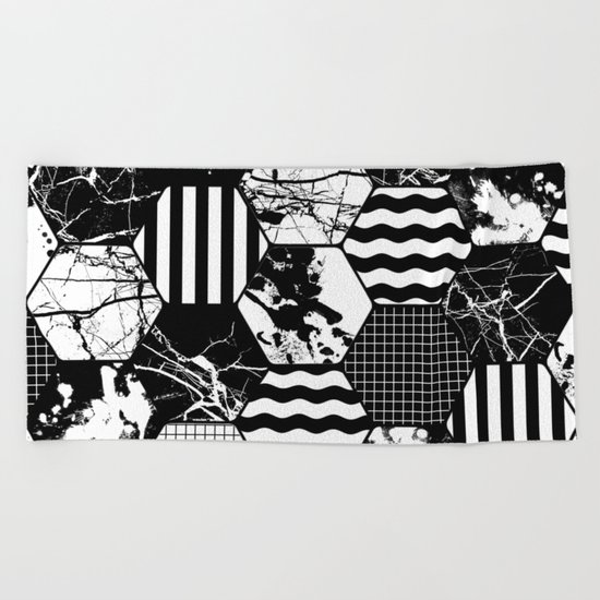 Hexual - Black and white, honeycomb, hexagon pattern, stripes, paint splats, grid and marble Beach Towel