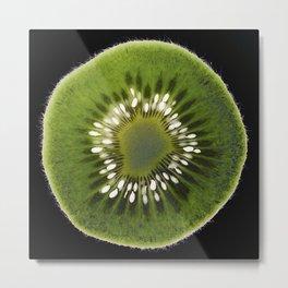 Kiwi fruit slice on black background Metal Print