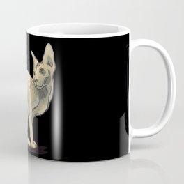 Elegant Sphynx Cat Sitting - Hairless Wrinkly Kitty -Bald Khakki Animal Illustration - Pet Portrait - Black Background Coffee Mug