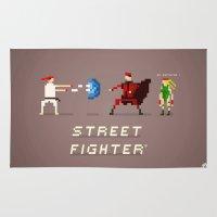 street fighter Area & Throw Rugs featuring Pixel Art Street Fighter by LoweakGraph