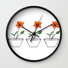 Three Flowers in a Row Wall Clock