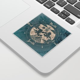Lighthouse Compass Ocean Waves Gold Sticker