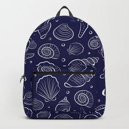 Sea shells illustration. Navy blue and white. Summer ocean beach print. Backpack