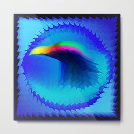 The emblem of an eagle bird head in motion blur. Medal with the image of an eagle on a blue backgrou Metal Print