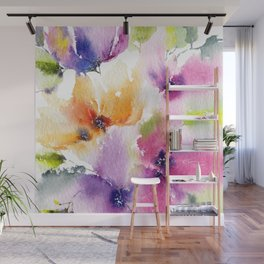 Watercolor Flowers. Summer florals Wall Mural
