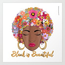 Black is Beautiful Floral Afro Hair African American Art Print