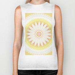 Sunshine Yellow Flower Mandala Abstract Biker Tank