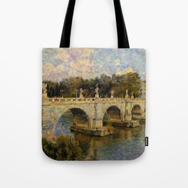 French Impressionistic Arched Bridge Tote Bag