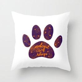 Adopt don't shop galaxy paw - purple and orange Throw Pillow