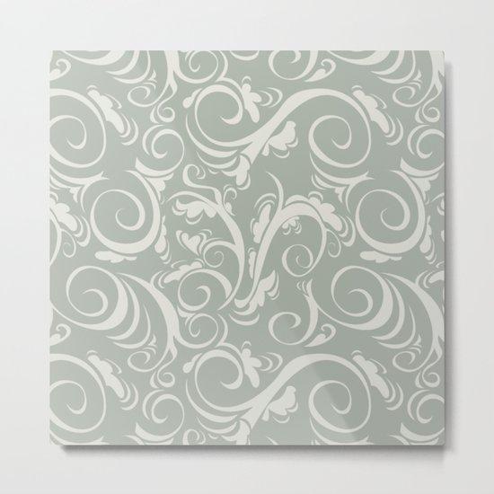 Gray Grey Flora Metal Print