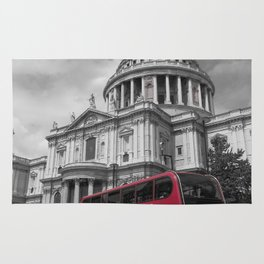 Double Decker Bus at St. Paul's Cathedral Rug
