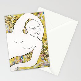 Nude with Yellow Flowers Stationery Cards