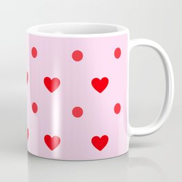 Pink & Red Heart Polka Dot Print Coffee Mug