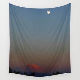 Mount Rainier Moon Rise Wall Tapestry