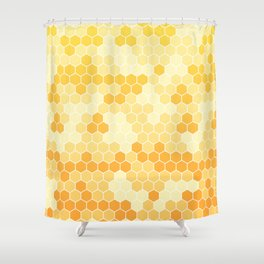 Honeycomb Yellow and Orange Geometric Pattern for Home Decor Shower Curtain