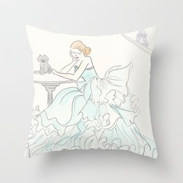 Glam Gorgeous Gowned Girl with Eiffel Tower View and Paris Pets Throw Pillow