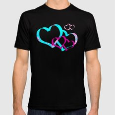 The circle of birds ... Pink and Blue Black MEDIUM Mens Fitted Tee