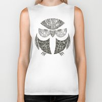 sayings Biker Tanks featuring Wise Old Owl Says by littleclyde