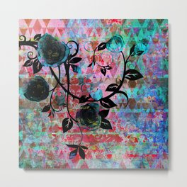 Black Rosevine Watercolor Tribal Metal Print
