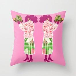 Floral Coat Pink Throw Pillow