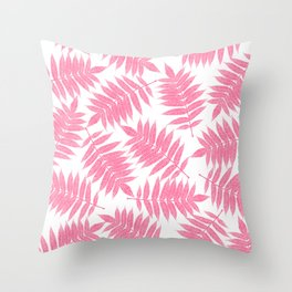 Modern girly pink botanical tropical leaves Throw Pillow