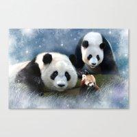 pandas Canvas Prints featuring Pandas by Julie Hoddinott