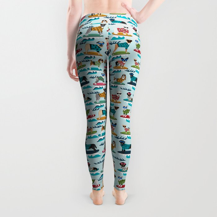 Surfing Dogs - cute summer tropical dogs surfing Leggings