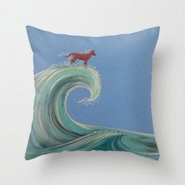 Surfing Kelpie Throw Pillow