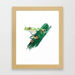 Frog. Watercolor illustration. Hand drawing Framed Art Print