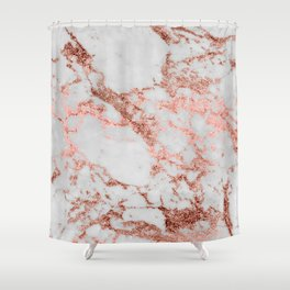 Stylish white marble rose gold glitter texture image Shower Curtain