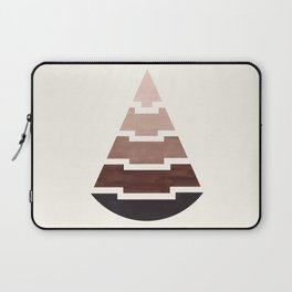 Raw Umber Watercolor Ombre Geometric Aztec Triangle Pyramid Pattern Minimalist Mid Century Design Laptop Sleeve