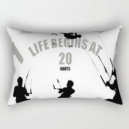 Life Begins At 20 Knots For Kitesurfers Rectangular Pillow