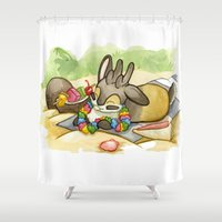 jackalope Shower Curtains featuring August Jackalope by JoJo Seames