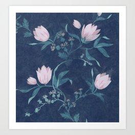 Pink tulips pattern on a dark background Art Print